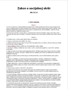 Zakon o socijalnoj skrbi 2012